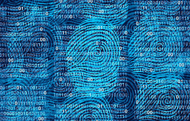 Data privacy is portrayed as swirling light blue fingerprints against a dark blue background filled with binary code.